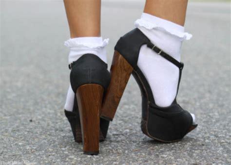 high heels socks shoes high heels socks ruffles brown black wooden