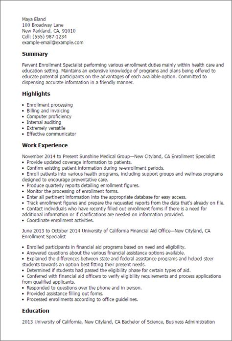 Health Education Specialist Cover Letter by Professional Enrollment Specialist Templates To Showcase