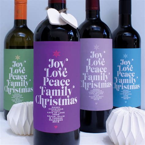 personalised family christmas wine labels by birdyhome