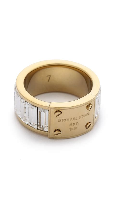 Michael Kors Ring by Michael Kors Baguette Plaque Ring In Gold Gold Clear Lyst