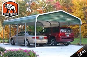 2 Car Metal Carport Carport Elephant Structures 2 Car Regular Style Carport