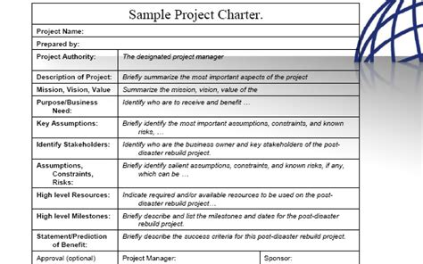 Project Management Methodology For Post Disaster Reconstruction Project Charter Template Pmi