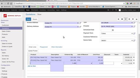 tutorial odoo indonesia software erp odoo indonesia create sales order youtube