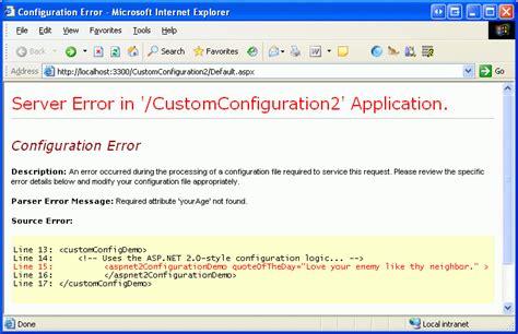 custom configuration section creating custom configuration sections in web config using