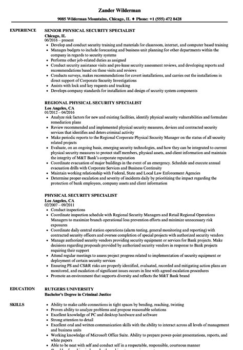 physical security specialist resume sles velvet