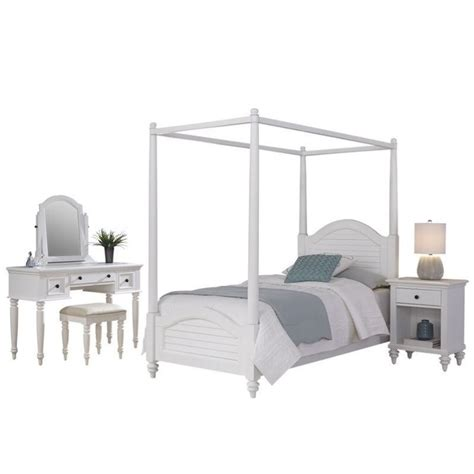 canopy bed 4 bedroom set in white 5543 4106