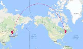 us flight distance map why canada would be directly in the way of a korean