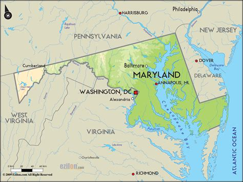 map of md geographical map of maryland and maryland geographical maps