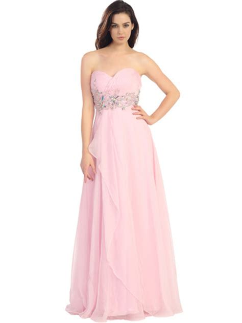 Baby Avail Pink Skirt strapless pleated and jeweled prom dress sung boutique l a
