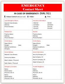 Emergency Contacts Template by The Lovebug