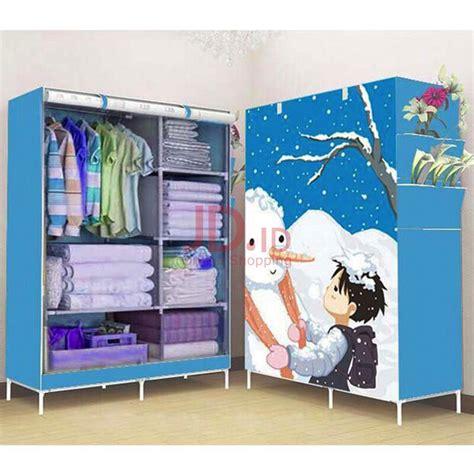 Lemari Pakaian Portable jual starhome lemari pakaian multifungsi lemari portable biru motif snowman gy02 bl sm starhome