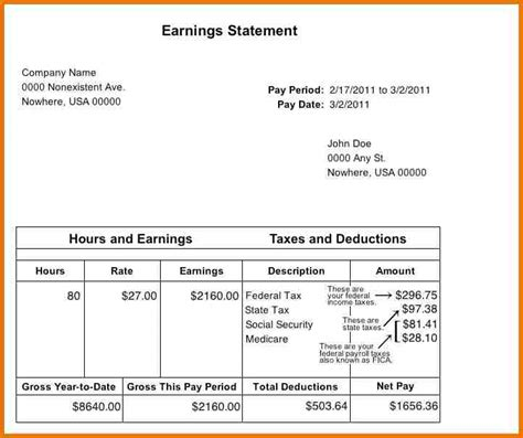 earning statement template attractive pay stub or earning statement template sle