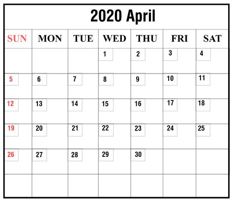 april  printable calendar excel  word format