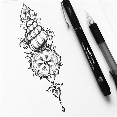 late night tattoo late doodling small shell geometry design
