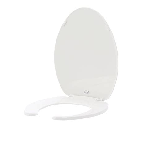 open front toilet seat bemis elongated open front toilet seat in white 175 000