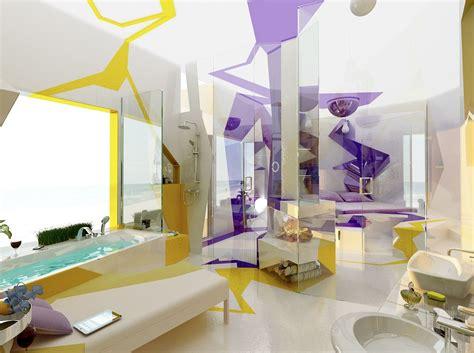 purple and green bathroom decor cubism in interior design