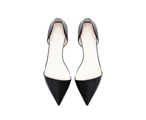 flat pointed shoes zara pointed flat shoe in black lyst