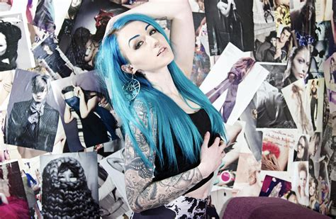 girls tattoo blue hair poster hands on head