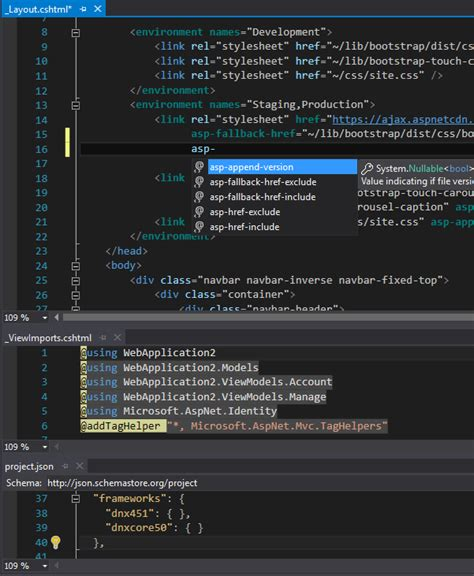 how does layout cshtml work razor taghelpers intellisense not working with dnx46 in
