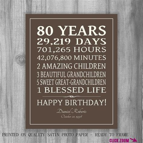 80th birthday gift sign print personalized by