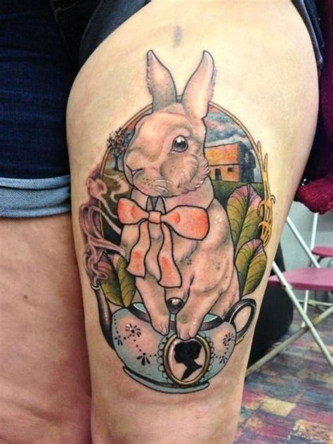 cute leg tattoos bunny on leg tattoos pictures