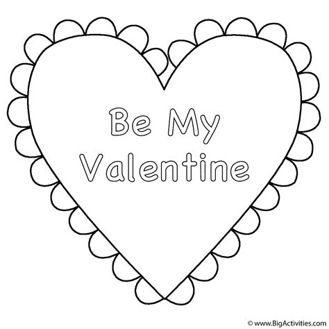 heart be my valentine coloring page valentine s day