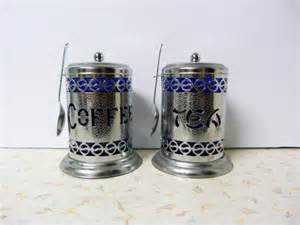 Cobalt Blue Kitchen Canisters Vintage Cobalt Blue Coffee And Tea Canisters By Ravishingretro