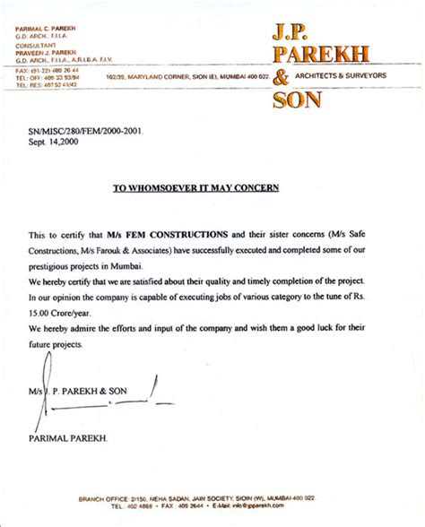 Solvency Certificate Letter To Bank Fem Construction India Pvt Ltd