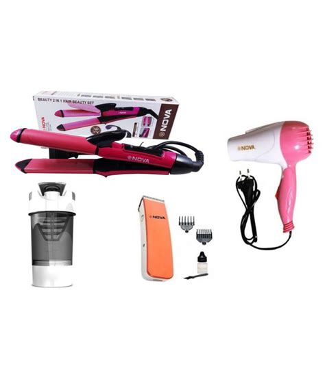Hair Dryer And Trimmer Combo 3p kart combo of hair dryer straightener trimmer and shaker buy 3p kart combo of hair dryer