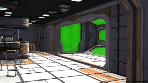 spaceship bedroom sci fi spaceship room with green screen background