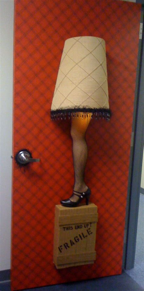 leg lamp door decor   office christmas door