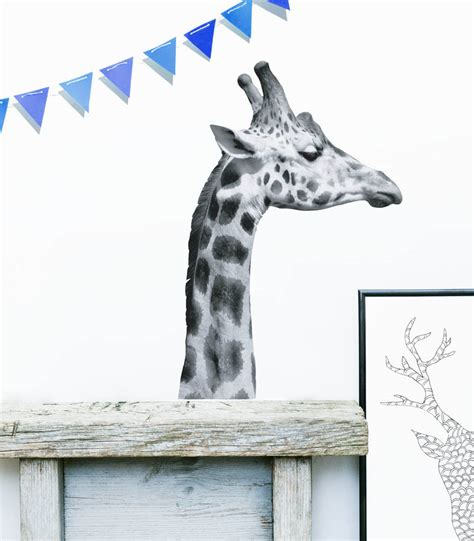 black and white wall stickers black and white giraffe wall sticker by oakdene designs