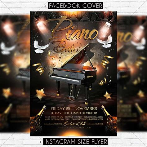 piano bar premium flyer template exclsiveflyer free