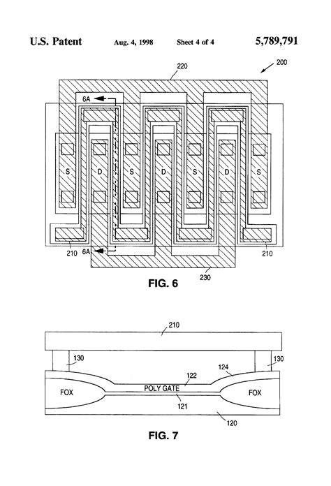 Multi Gate patent us5789791 multi finger mos transistor with