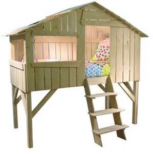 lit cabane enfant simple couchage vernis naturel