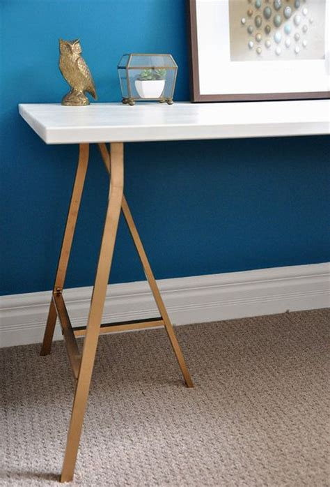 Diy Trestle Desk Diy Trestle Desk With Gold Legs Parts From Ikea Http Www Shelterness Diy Trestle