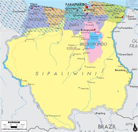 where is suriname on a map political map of surinam ezilon maps