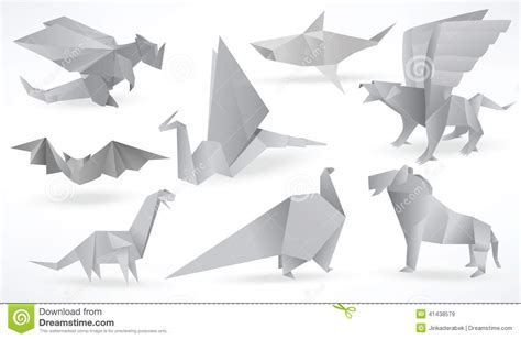 Origami Creatures - origami animals black white stock vector image 41438579
