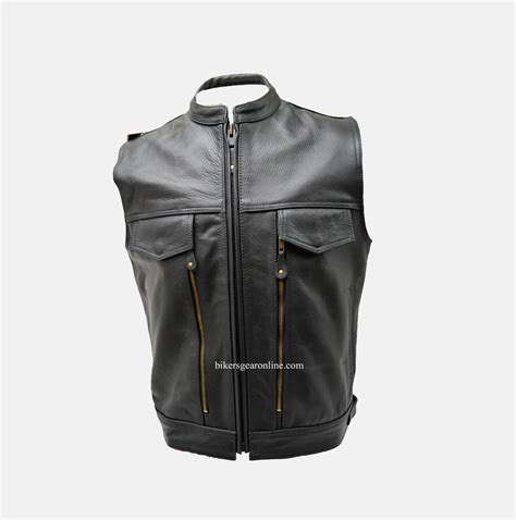 leather motorcycle accessories mens leather motorcycle vest with gun pockets