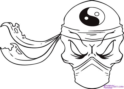 cool ninja coloring pages how to draw a ninja skull step by step skulls pop