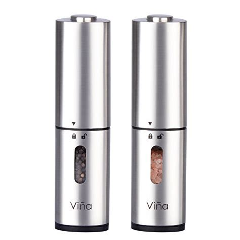 electric salt pepper mill grinder with light vina 4335506278 vina electric salt and pepper grinder set