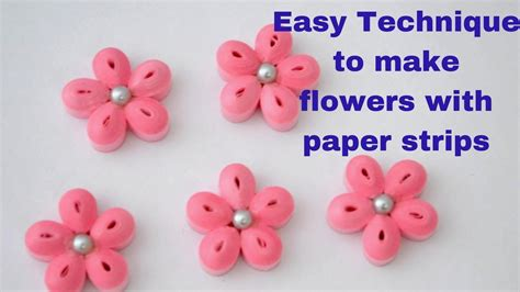 How To Make Flowers With Paper Strips - how to make simple flower with paper quilling diy
