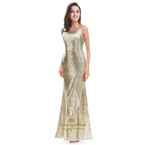 gold sleeveless sequin embellished open back mermaid evening gown fancy bridesmaid dresses