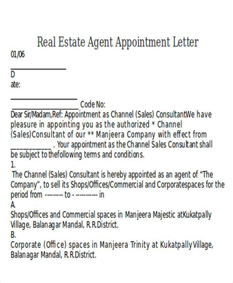 appointment letter format real estate company sle letter for real estate agents image collections