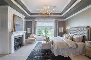 Should Ceilings Be White by Gray Bedroom With Tray Ceiling Transitional Bedroom