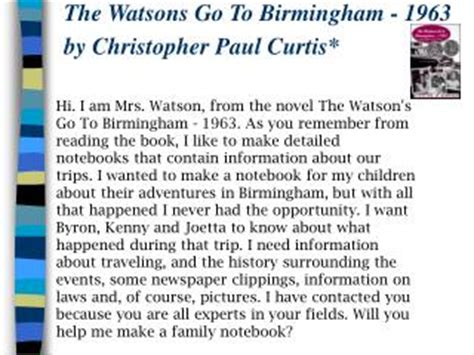 the watsons go to birmingham book report ppt the watsons go to birmingham 1963 powerpoint