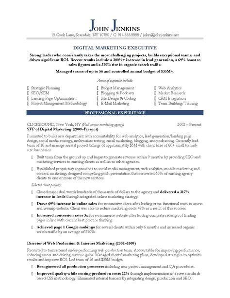 best resume format for digital marketing 10 marketing resume sles hiring managers will notice