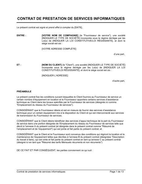 contrat de prestation de services informatiques template