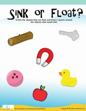 What Is Floating And Sinking by Floating And Sinking Worksheet Education