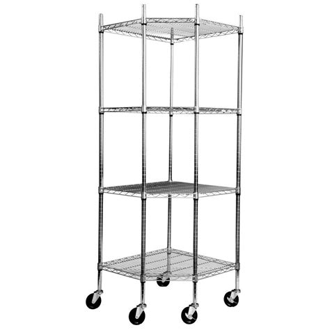 nsf wire shelving ecostorage 4 tier nsf corner wire shelving rack w wheels chrome tbfz 0909 the home depot